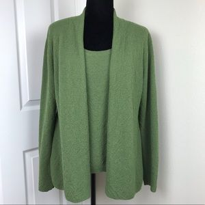 Eileen Fisher Green Wool Cardigan and Tank Set